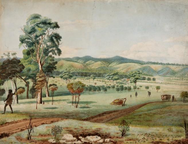 Martha Berkeley, Mt Lofty from the Terrace.  Adelaide c1840 Courtesy Art Gallery of South Australia Adelaide